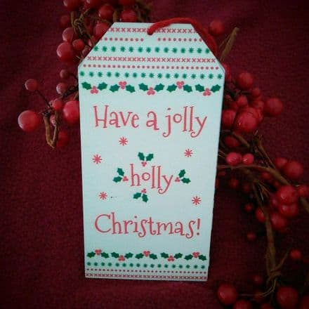 50% off Jolly Holly Christmas Metal tag Sign