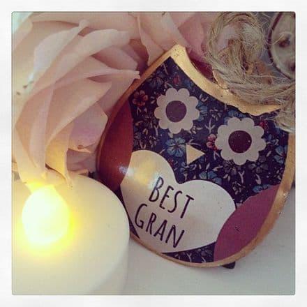 50% OFF  Mini Best Gran Tin Hanging Owl