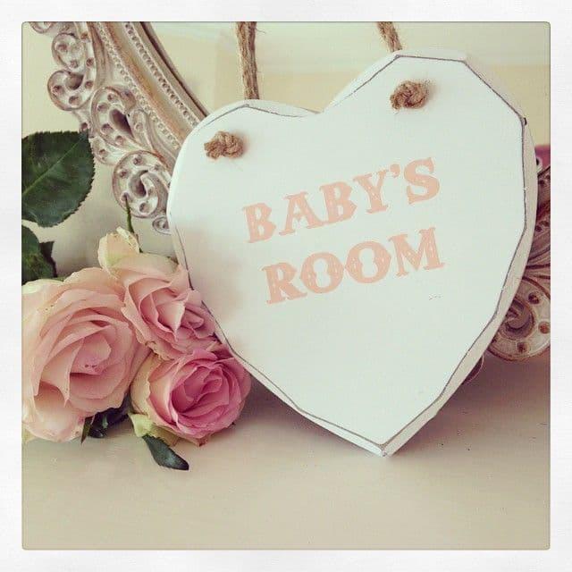 Baby's Room Pink Hanging Wooden Heart
