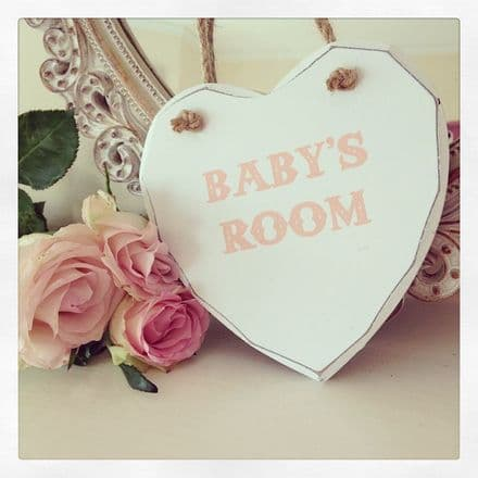Baby's Room Pink Hanging Wooden Heart