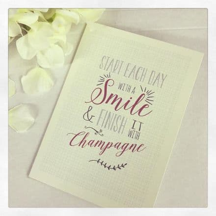 East Of India Card Start Each Day With A Smile.... Champagne