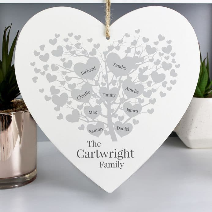 Family Tree Large Wooden Heart