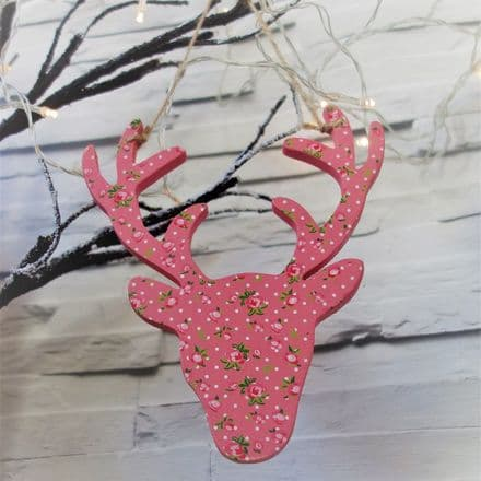 Floral Stag Head Wooden Decoration