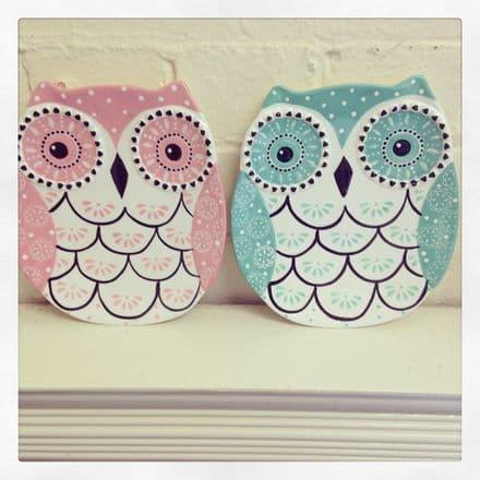 Folk Owl Decorative Dish - Light Teal & Pink