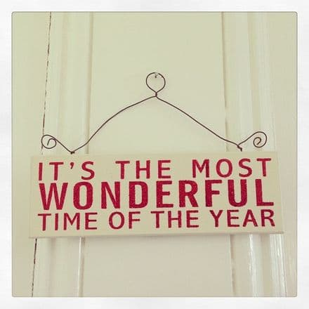Hanging It's the most wonderful time of the year glitter sign