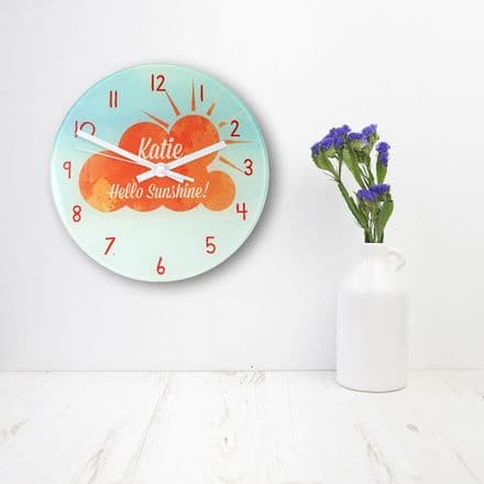 Hello sunshine glass wall clock