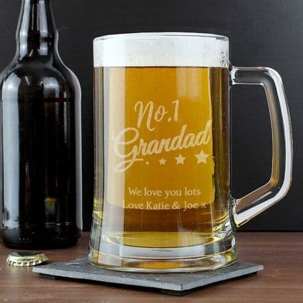 No.1 Grandad Glass Pint Stern Tankard