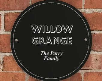Personalised Black House/Garden Round Sign