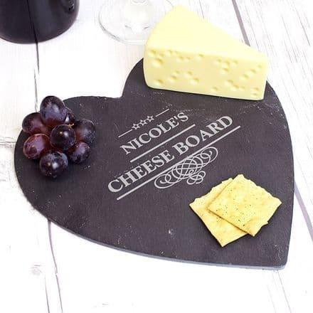 Personalised Decorative Slate Heart Cheeseboard