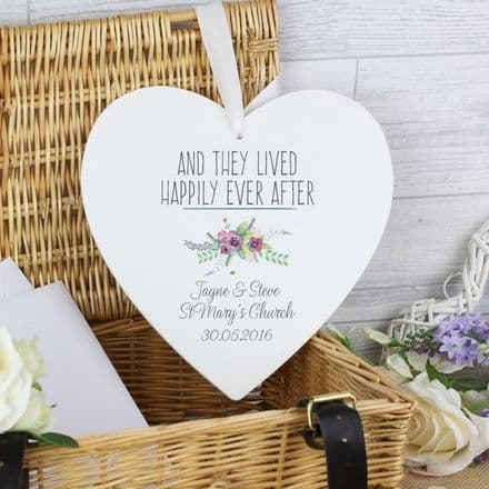 Personalised Floral Bouquet Large Wooden Heart Decoration
