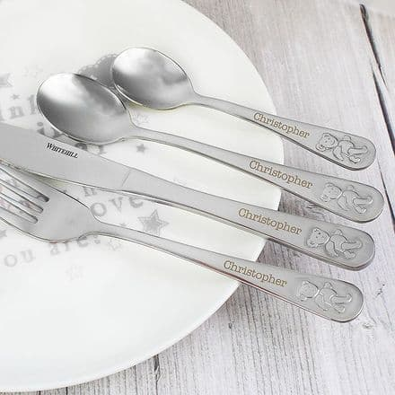 Personalised Teddy 4 Piece Cutlery New Baby Christening Gift