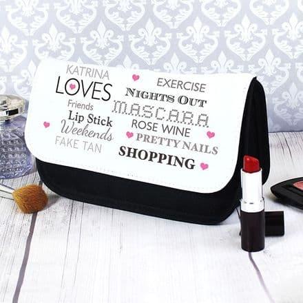 Personalised Top Ten Loves Make Up Bag
