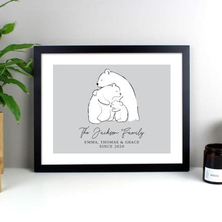 Polar Bear Family Black Framed Print