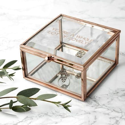 Rose Gold glass trinket box