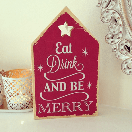 Rustic Plaque- Eat, Drink & Be Merry