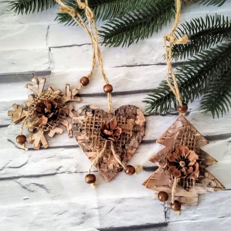 Set of 3 Small Birch Decorations