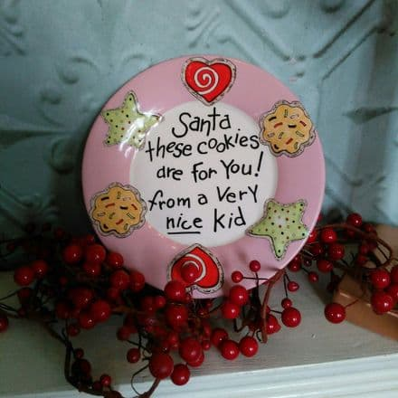 Small Pink Santa Cookie Plate