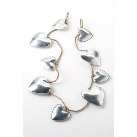 Tin hearts garland