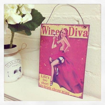 Vintage Metal Distressed Hanging Sign Wine Diva