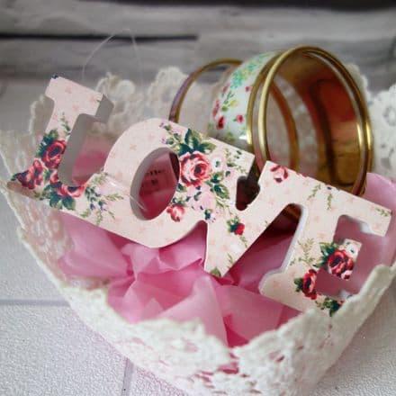Vintage Rose Love block sign