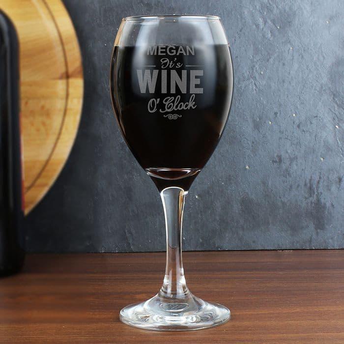 Wine O'Clock Wine Glass