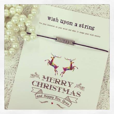 Wish String Bracelet - Wish Bar Charm On Black String- Merry Christmas & Happy New Year