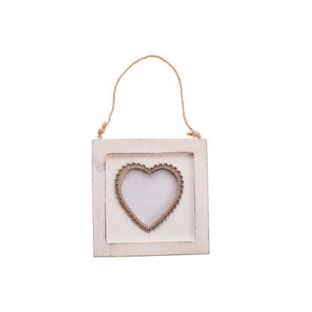 Wooden Hanging Heart Photo Frame On Twine - White & Natural