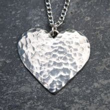 Planished heart pendant necklace P01