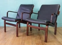 Danish leather lounge chairs - SOLD