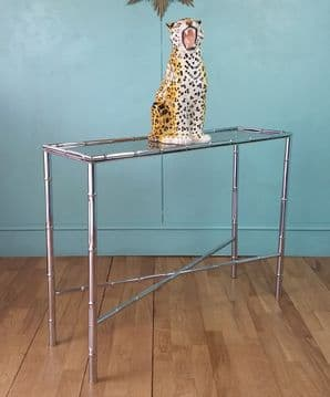 French faux bamboo console table