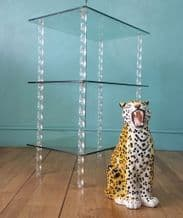 French Lucite & glass etagere