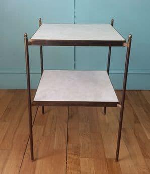 Italian brass & faux marble side table