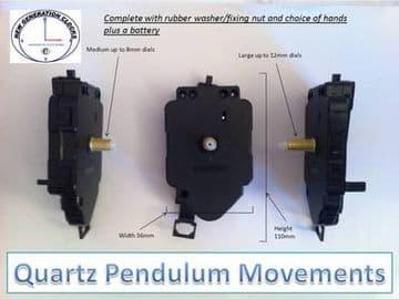 Quartz pendulum clock movement with bob