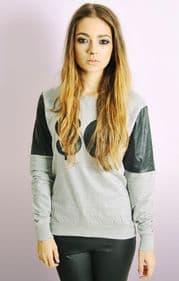 """SO"" Sweatshirt With PU Sleeves"