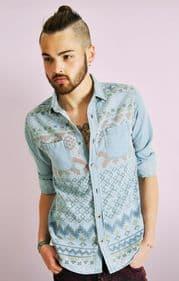 Aztec Print Denim Shirt