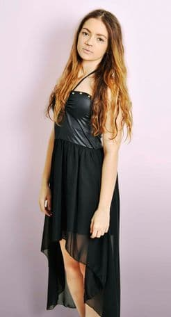 Black Halterneck Dipped Hem Dress with Studs
