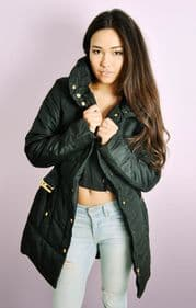 Black Padded Belted Zip Up Puffa Coat