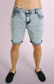 Bleached Slim Fit Acid Wash Denim Shorts