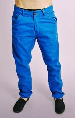 Blue Cotton Turn Up Chinos