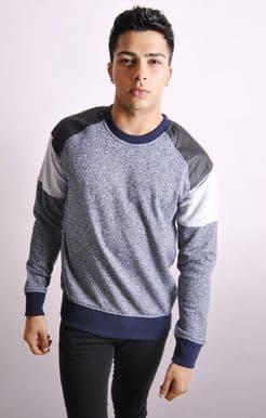 Colour Block Sweatshirt With PU Inserts