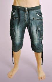 Dark Denim Shorts with Jogger Waist