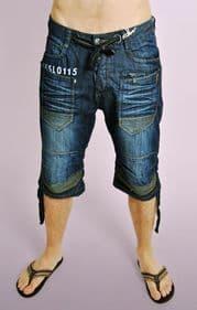 Dark Denim Shorts with Stitch Detail