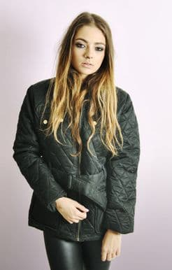 Diamond Quilted Jacket with Belt