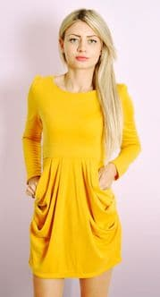 Draped Dress with Long Sleeves