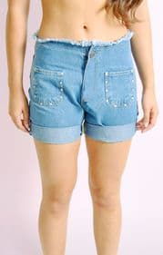 Frayed Denim Shorts with Stude Detail