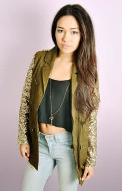 Gold Sequin Sleeve Military Jacket