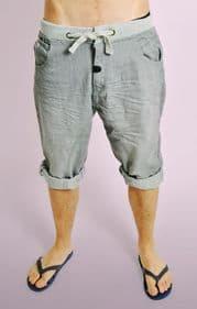 Grey Denim Shorts with Ribbed Waistband