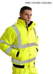 High Visibility Plain Bomber Jacket with Ribbed Cuffs