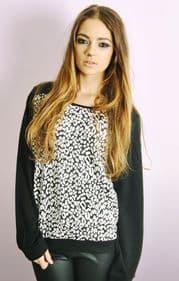 Jacquard Style Sweatshirt In Leopard