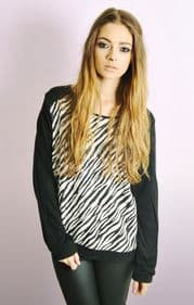Jacquard Style Sweatshirt In Zebra